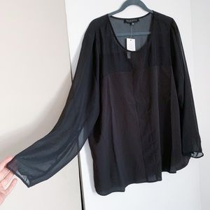 Eloquii Black Blouse with Sheer Sleeves